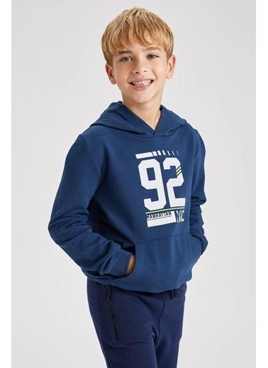 DeFacto Erkek Çocuk Kapüşonlu Sweatshirt Mavi